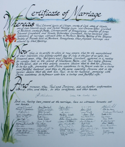 Quaker Marriage Certificate 1 (large view)