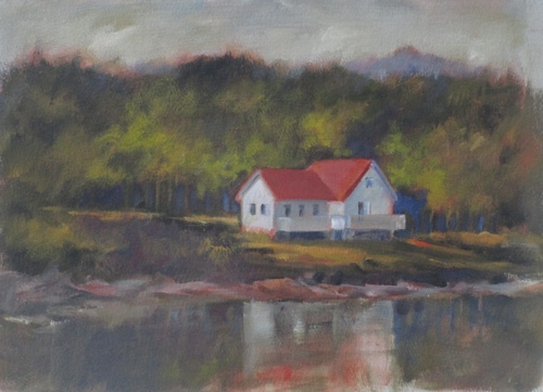 Red Roof Boathouse by Pamela Grumbach