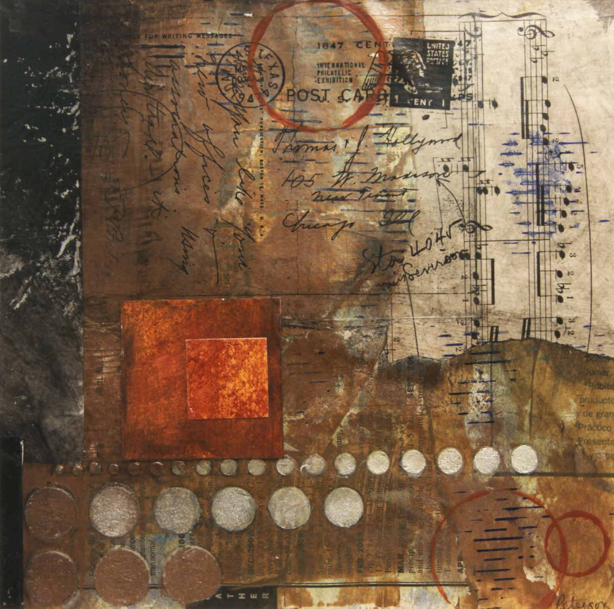collage with acrylic paint, plaster and image transfer (large view)
