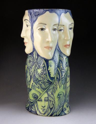 Five-faced vase large