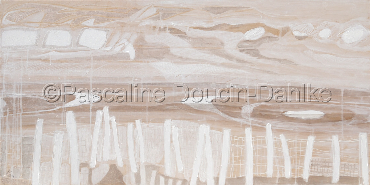 Winter scene with fence in Wausau, Wisconsin. Abstract art all painted in white and pearlescent paint. (large view)