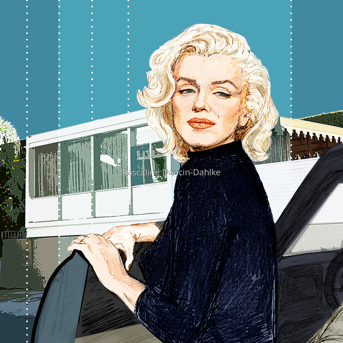 Marilyn Monroe at the Doheny Apartments - 1953 (large view)