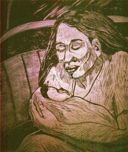 Printmaking--Linoleum-FigurativeAMERICAN MADONNA 2003