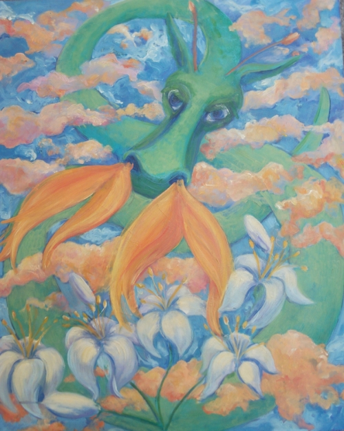 Painting--Oil-AllegoricalDRAGON, LILIES