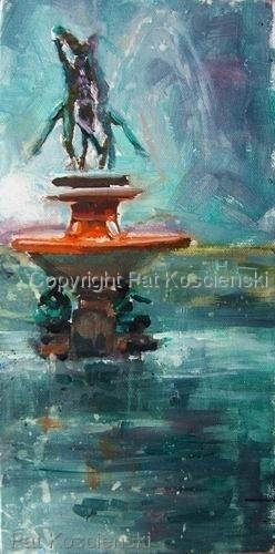 Dancing in the Rain   Italian Lake Fountain by Pat Koscienski