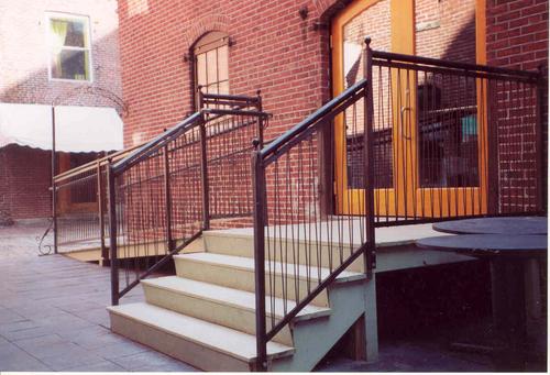 Exterior steel entry rail, Cinque Terre, Portland, ME