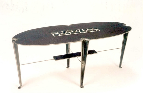 Steel Coffee Table with Inlaid Stone 2.0