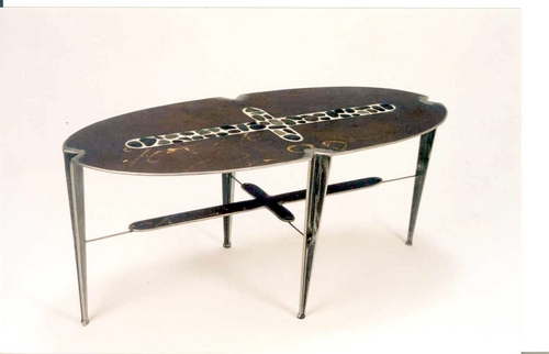 Steel Coffee Table with Inlaid Stones 3.0