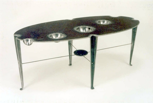Steel Coffee Table with Depressions