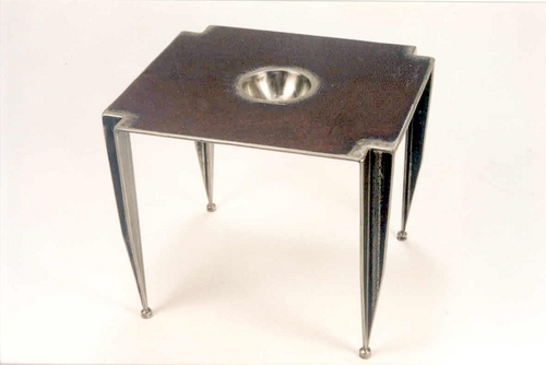 Steel EndTable with Depressions
