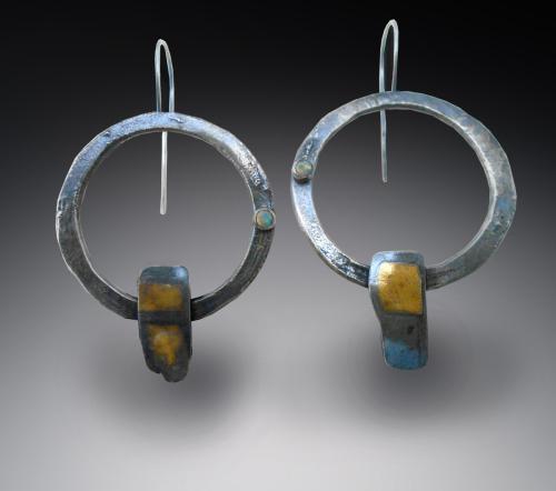 earrings:  silver and 22K gold opal