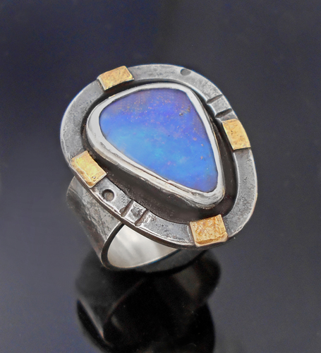 Dreamy blue boulder opal ring
