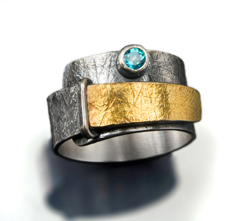 Blue Topaz wrap over ring