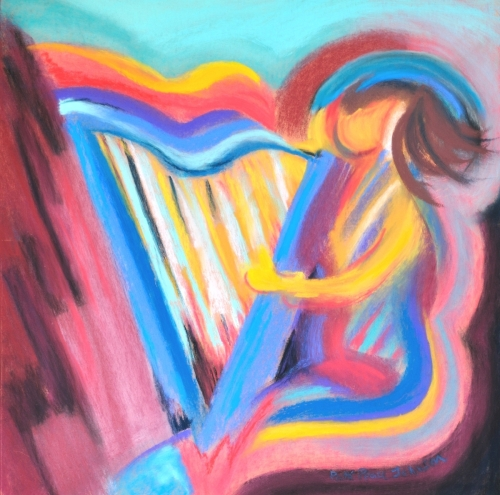 Harp Player with Blue Halo / 364