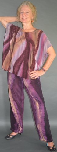 Hand-Painted Royal Purple Loose Tunic and Pants / 593-1 Royals