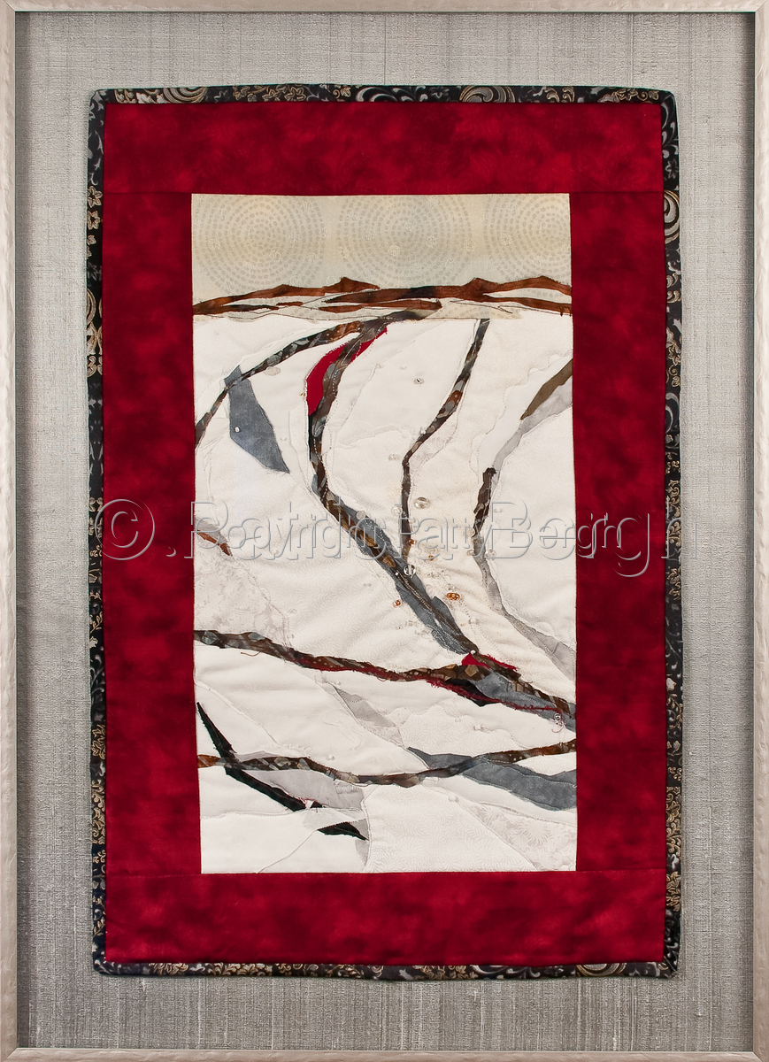 Art Quilt.  Hand and machine stitching; cotton fiber; raw edge applique; fiber, stitch and bead embellishment. Framed under museum glass; measurements include frame. (large view)