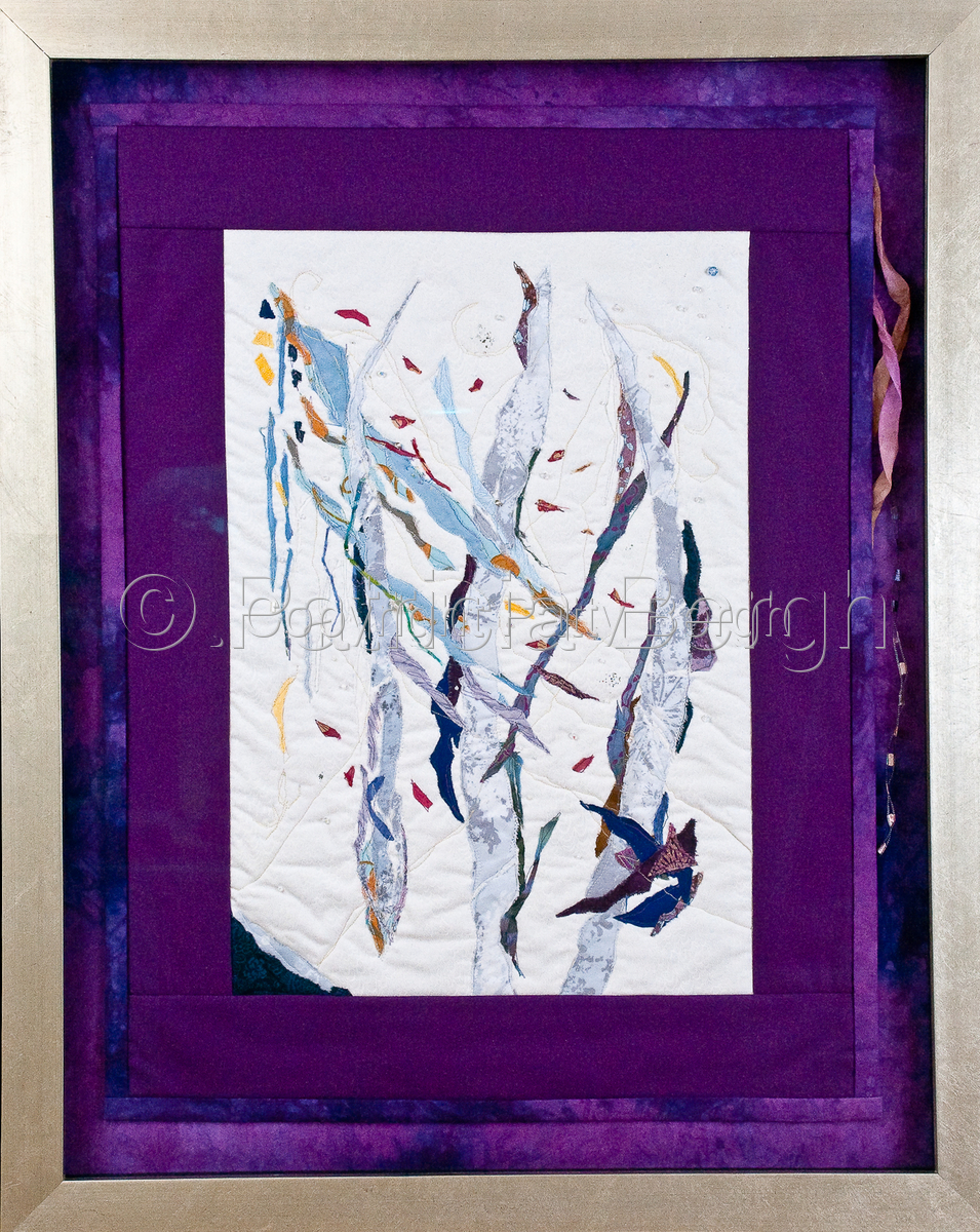 Art Quilt.  Hand and machine quilting; cotton fiber; raw edge applique; beading and fiber embellishment; painting and foil. Framed under museum glass; dimensions include frame. (large view)