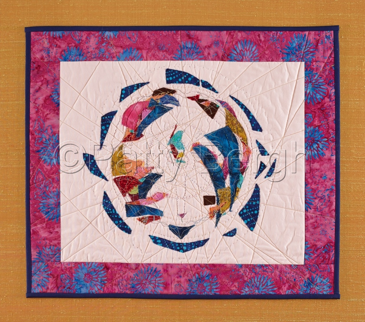 Art quilt with hand and machine quilting, cotton fiber, raw edge applique, fiber and bead embellishment. (large view)