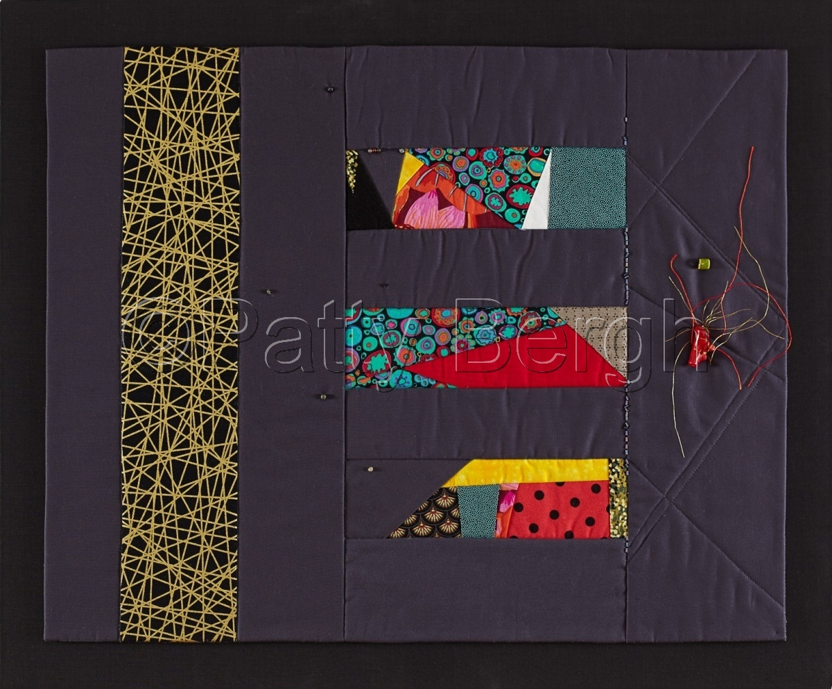 Art Quilt.  Hand and machine stitching, cotton fiber, fiber and bead embellishment.   (large view)
