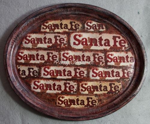 Santa Fe RR Logo Tray ( Deep red detailing)