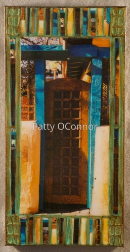 Teal Framed Wood Gate