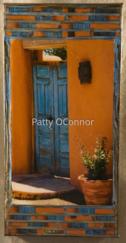 Blue Cerrillos Gate with Sconce