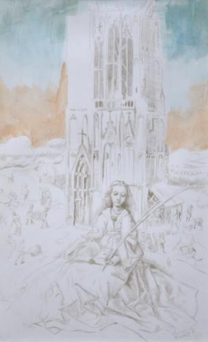 Study of Jan van Eyck's St. Barbara