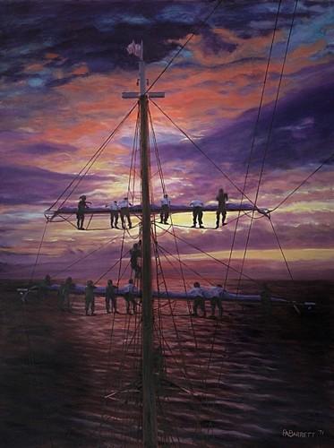 Furling Sail at Sunset
