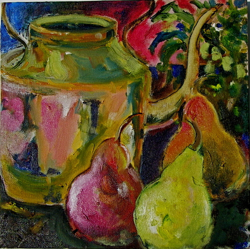 copper pot and pears (large view)