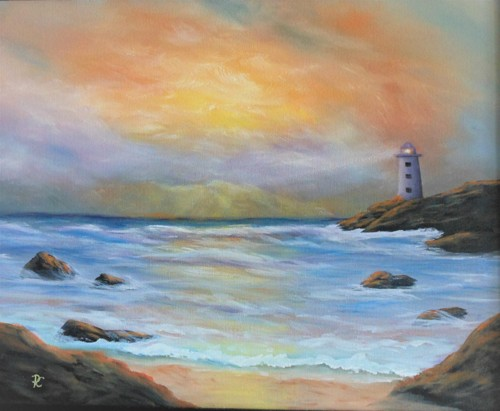 Lighthouse in the distance by Paintings by PC