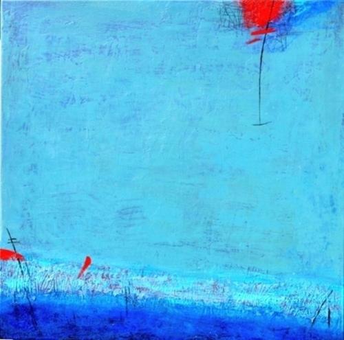 Red cloud in blue horizon by Peggy Hinaekian