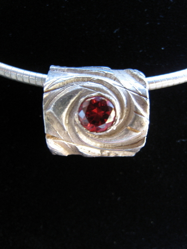 Fine Silver and Ruby Slide Pendant