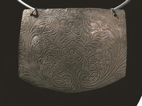 Antique Sterling Plate Floral Design Pendant