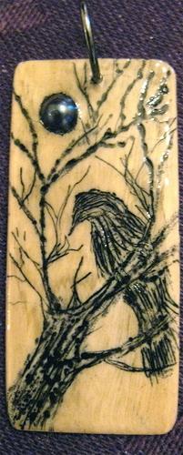 Talisman Series: Raven in tree with malachite inlay.