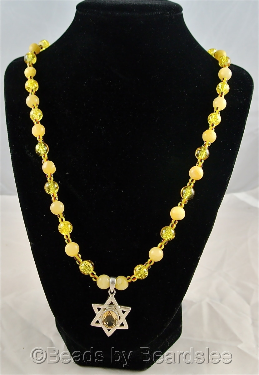 Hand made citrine Star of David necklace (large view)