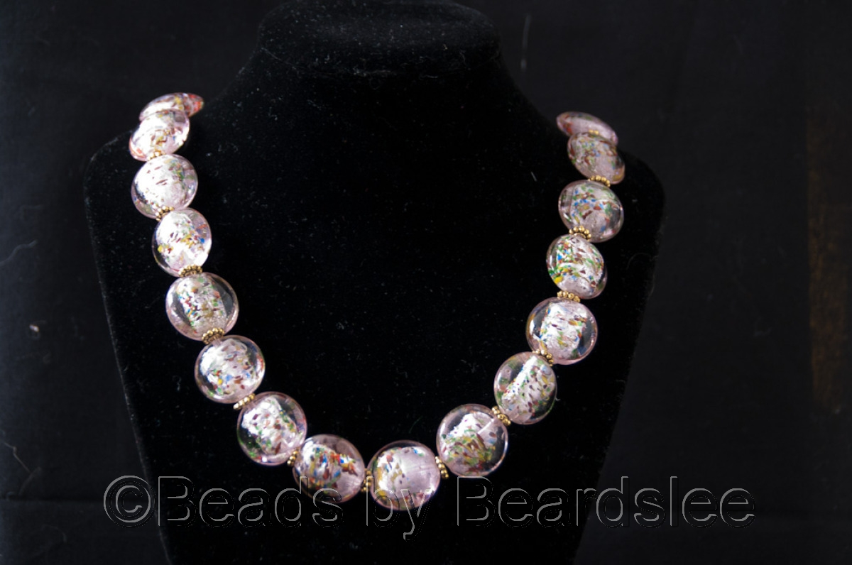 Hand made pink glass necklace (large view)