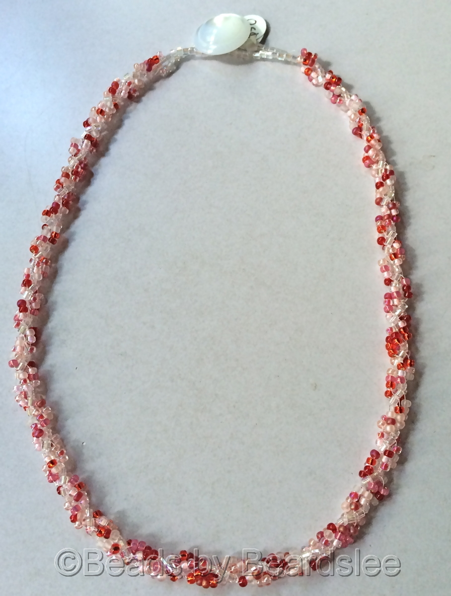 Red, Pink, & White Spiral Rope Necklace (large view)