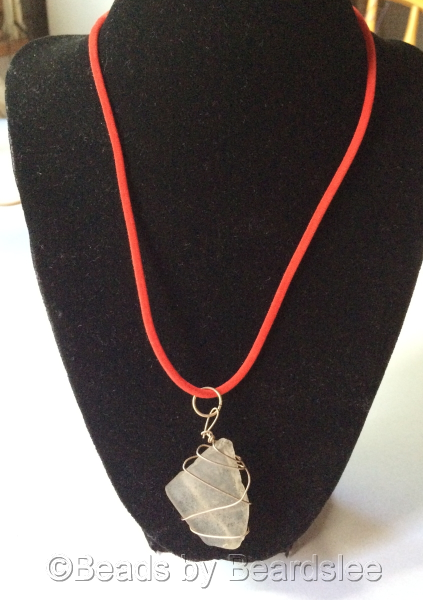 Clear Sea Glass Necklace (large view)