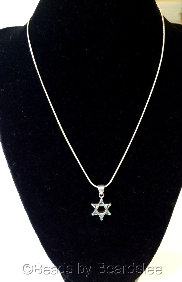 Sterling Silver Star of David Necklace (large view)