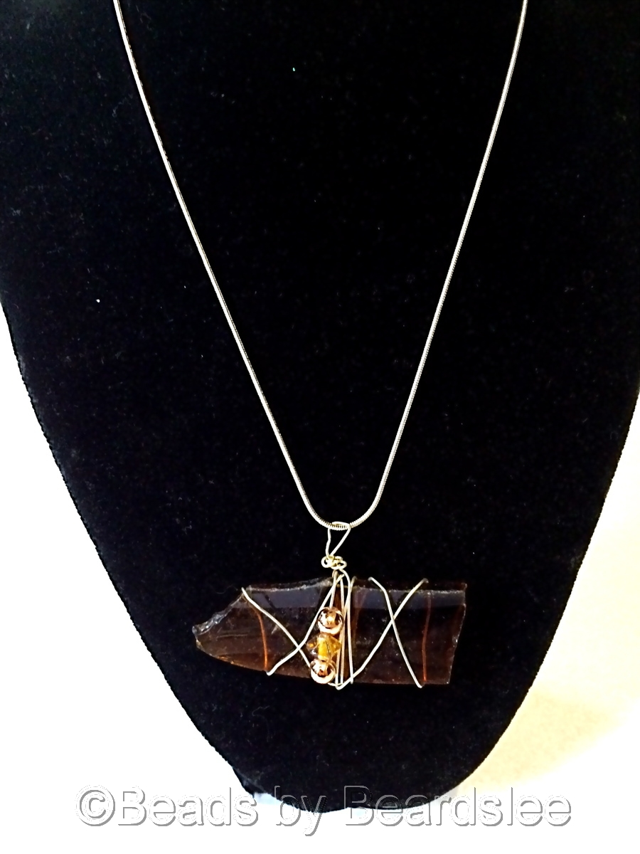 Brown Sea Glass Necklace (large view)