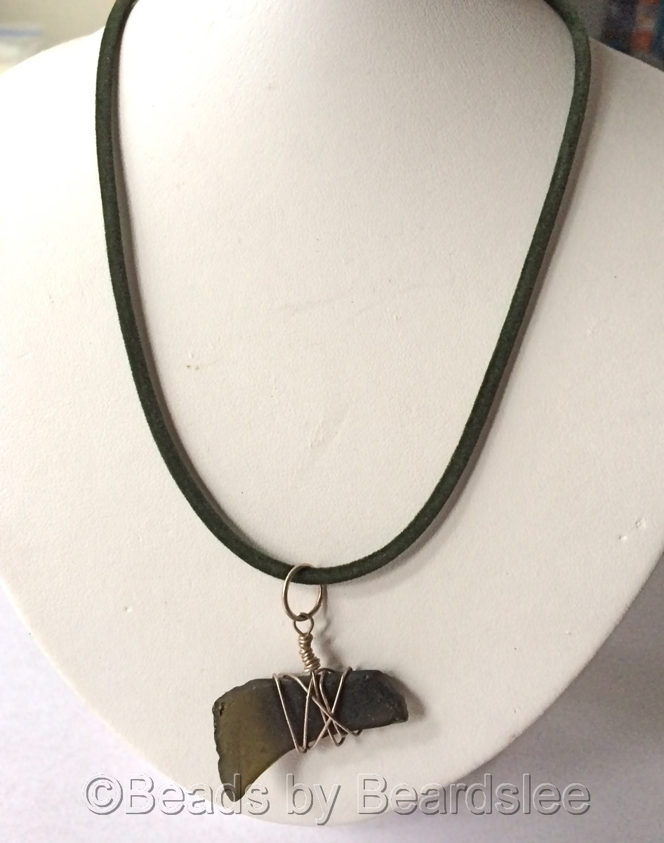 Green Sea Glass Necklace (large view)
