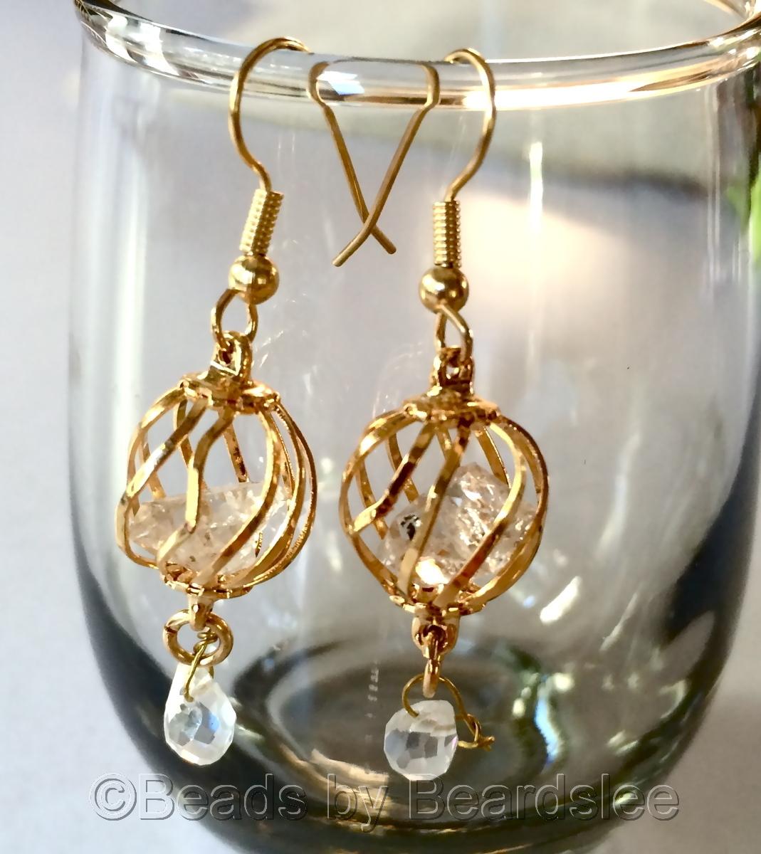 Gold Diamond Quartz Earrings (large view)