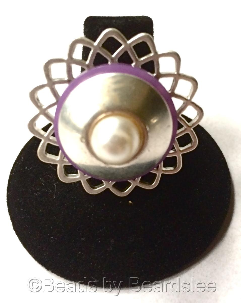 Silver & Purple Lattice Ring (large view)