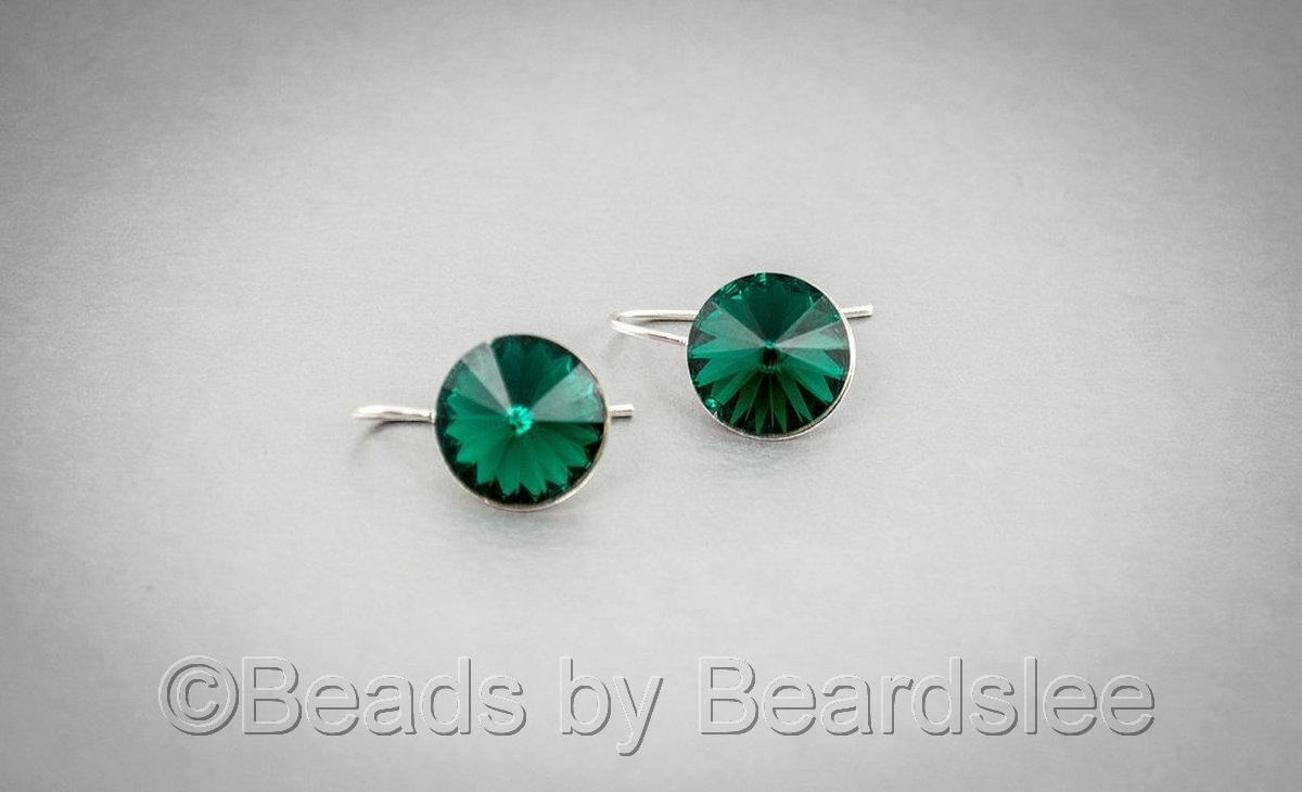 Emerald Swarovski Earrings (large view)