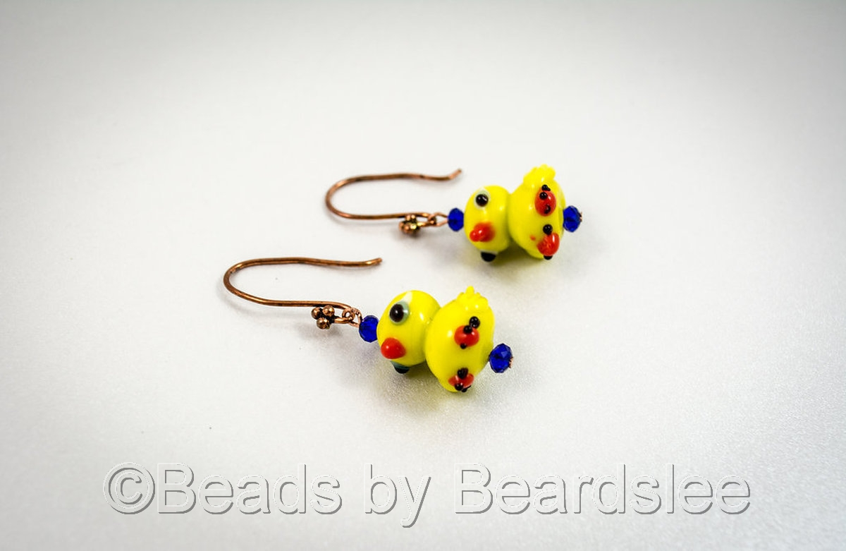 Yellow Duck Earrings (large view)