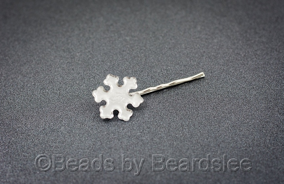 White Snowflake Bobby Pin (large view)