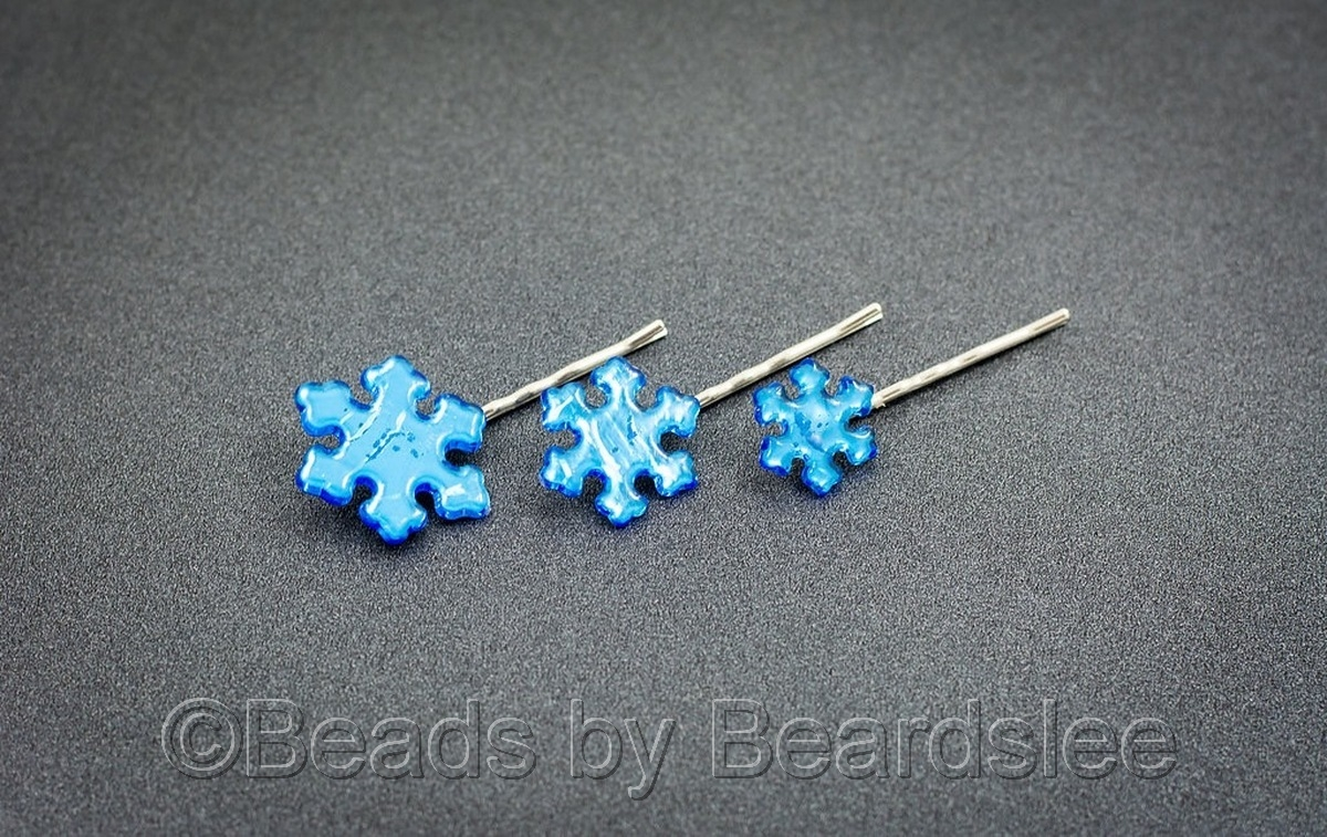 Light Blue Snowflake Bobby Pin (large view)