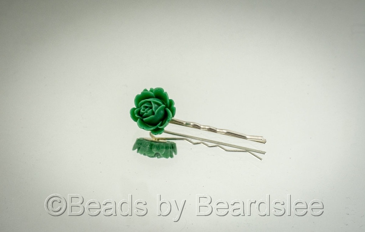 Green Flower Bobby Pin (large view)