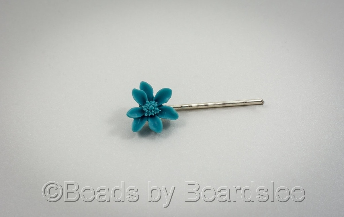 Teal Flower Bobby Pin (large view)