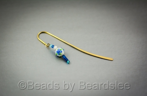 Blue Beaded Bookmark (large view)